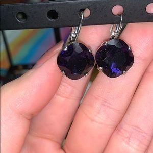 Eggplant cushioncut dangle earrings.